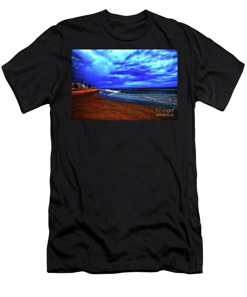 Clouds Men's T-Shirt (Athletic Fit) featuring the photograph Painterly Beach Scene by Debbie Nobile