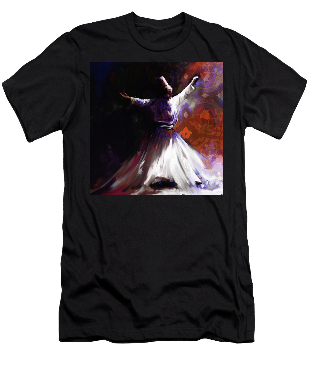 Tanoura Men's T-Shirt (Athletic Fit) featuring the painting Painting 716 2 Sufi Whirl 2 by Mawra Tahreem