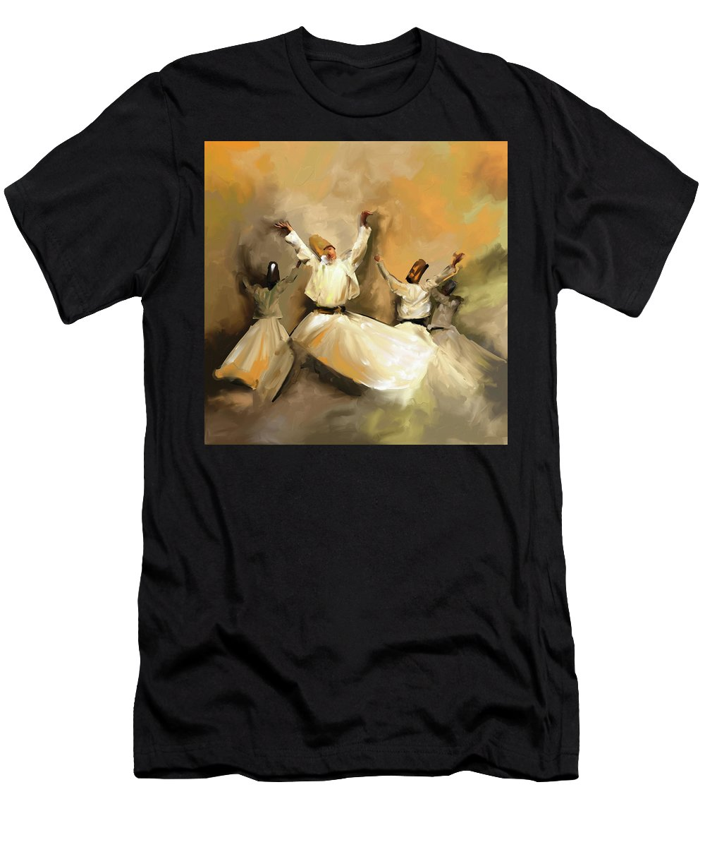 Tanoura Men's T-Shirt (Athletic Fit) featuring the painting Painting 717 1 Sufi Whirl 3 by Mawra Tahreem