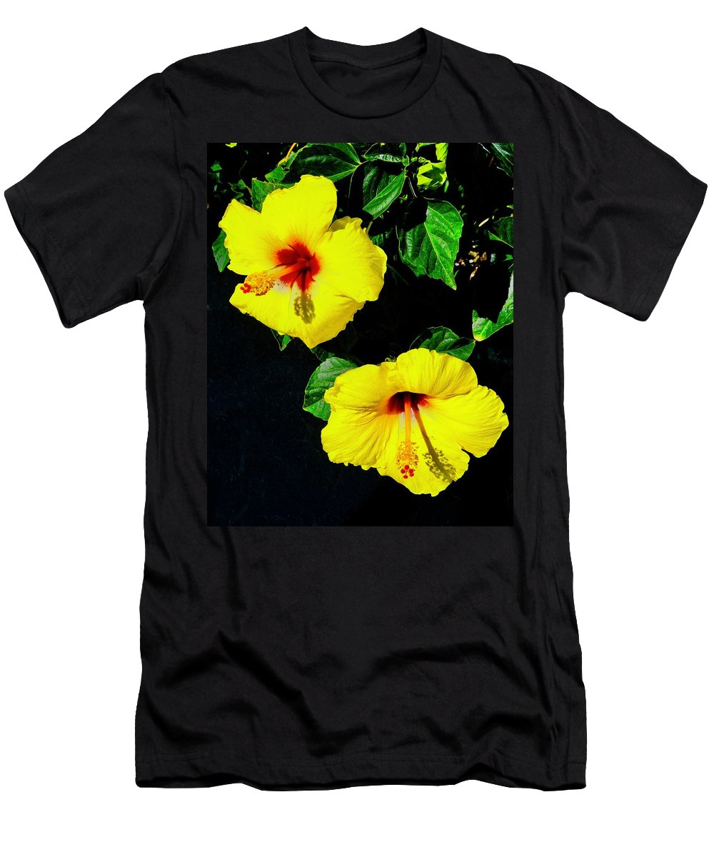 Hibiscus Men's T-Shirt (Athletic Fit) featuring the photograph Pair Of Golden Hibiscus In Morning Sun by Tim G Ross