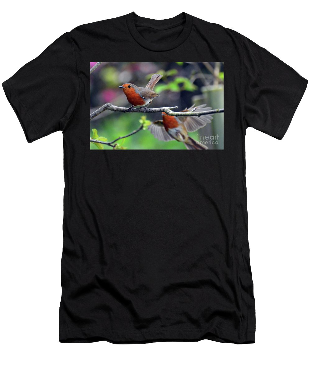 Robin Men's T-Shirt (Athletic Fit) featuring the photograph Pair Of Robins by Paul Cummings