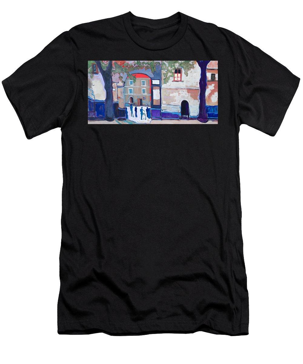 Village Men's T-Shirt (Athletic Fit) featuring the painting Palazzo Di Villafranca by Kurt Hausmann