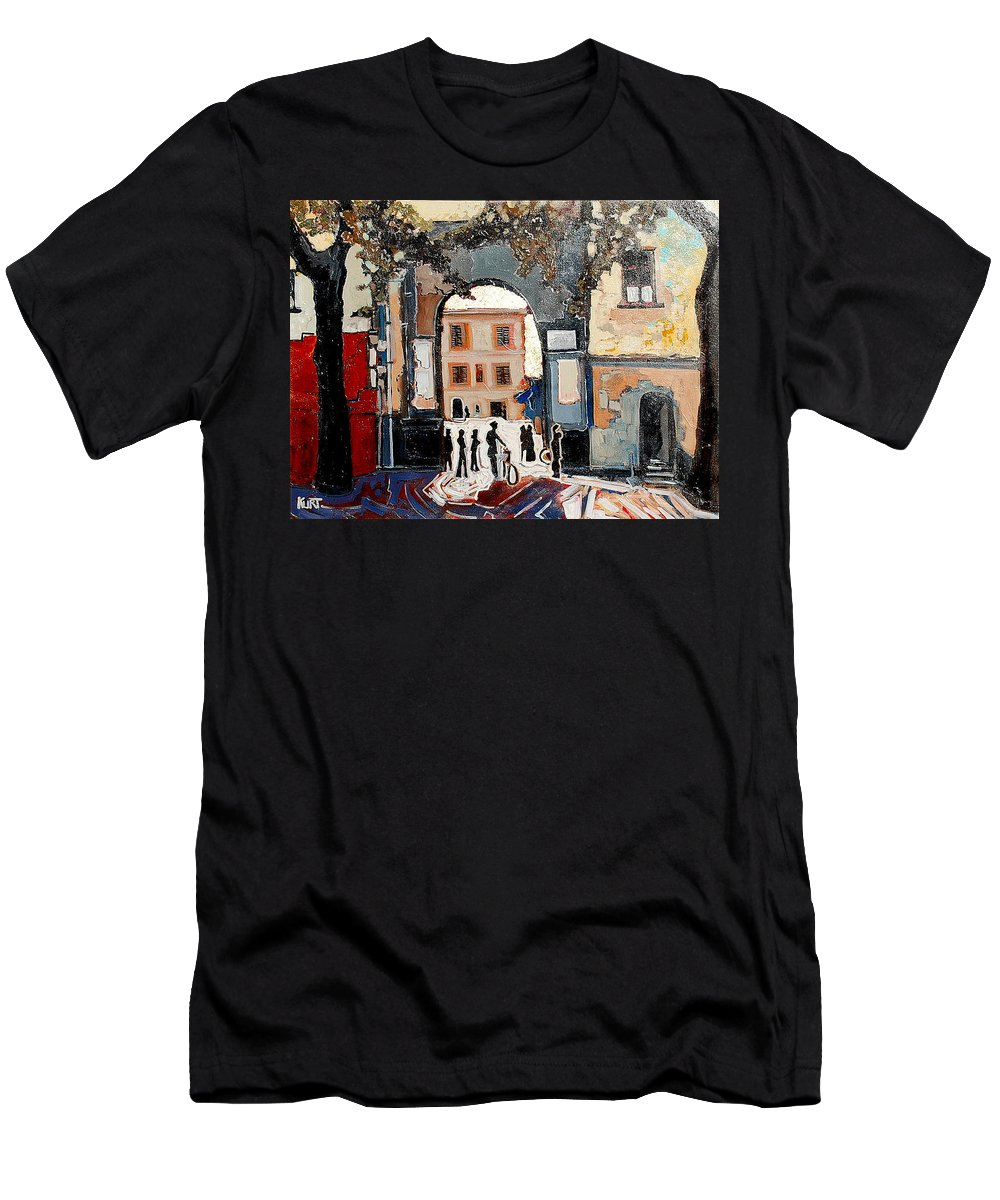 Tuscany Men's T-Shirt (Athletic Fit) featuring the painting Palazzo Vecchio by Kurt Hausmann