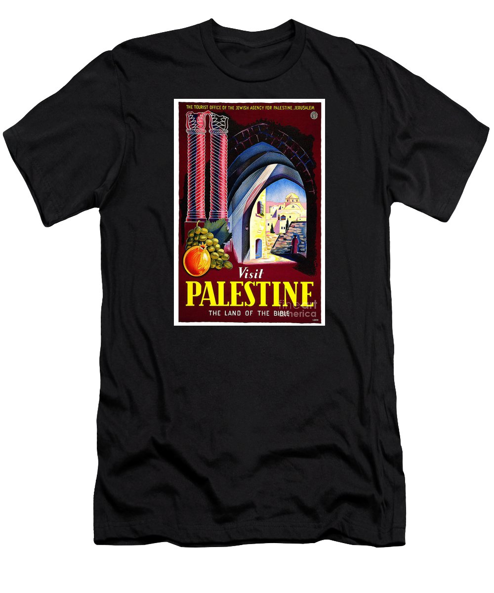 Palestine Travel Poster Men's T-Shirt (Athletic Fit) featuring the painting Palestine Travel Poster by Pd
