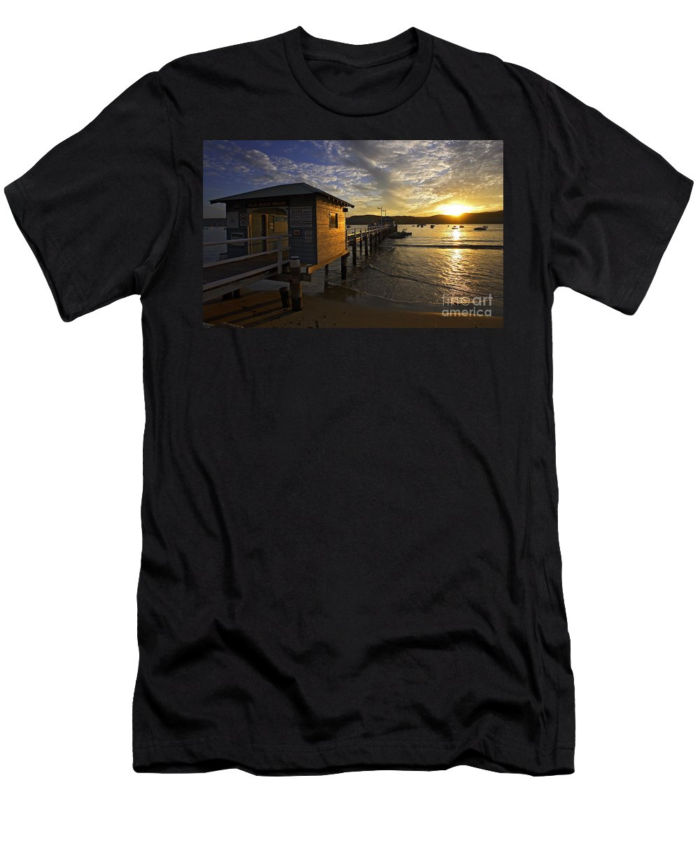 Palm Beach Sydney Australia Sunset Water Pittwater Men's T-Shirt (Athletic Fit) featuring the photograph Palm Beach Sunset by Sheila Smart Fine Art Photography