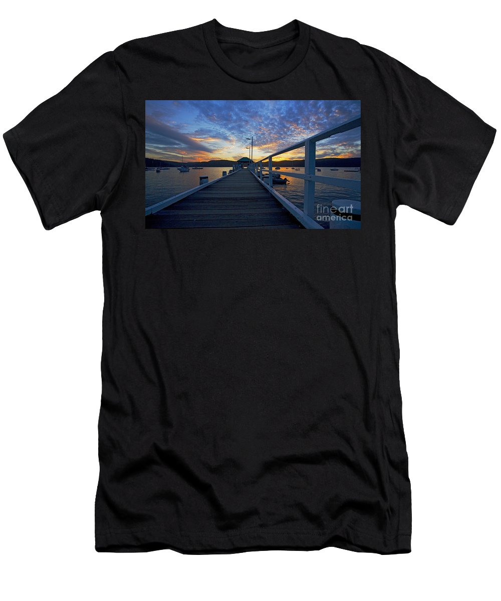 Palm Beach Sydney Wharf Sunset Dusk Water Pittwater Men's T-Shirt (Athletic Fit) featuring the photograph Palm Beach Wharf At Dusk by Avalon Fine Art Photography