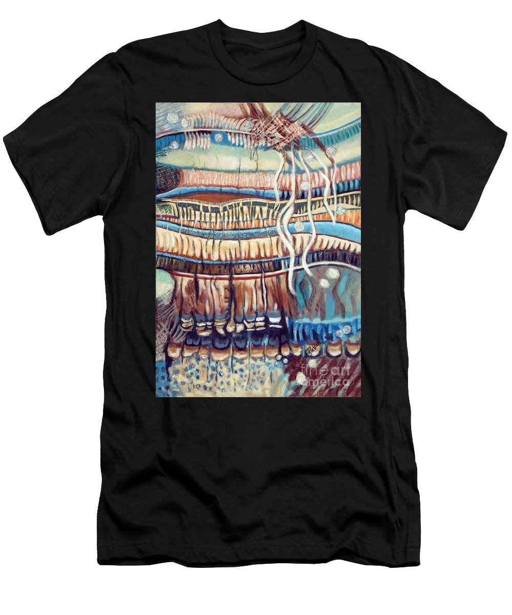 Abstract Men's T-Shirt (Athletic Fit) featuring the painting Palm Contractions by Kerryn Madsen-Pietsch