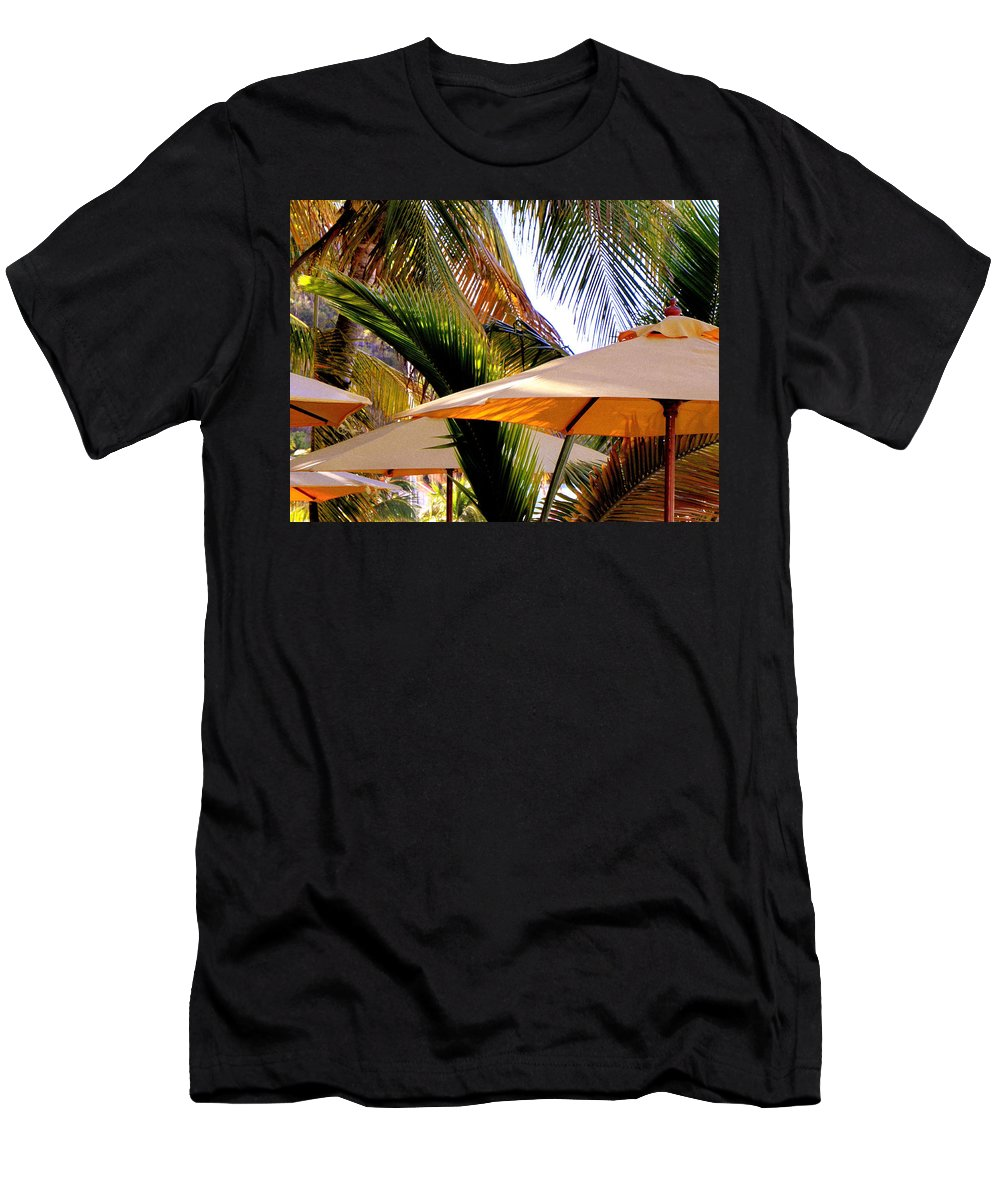 Umbrellas Men's T-Shirt (Athletic Fit) featuring the photograph Palm Serenity by Karen Wiles