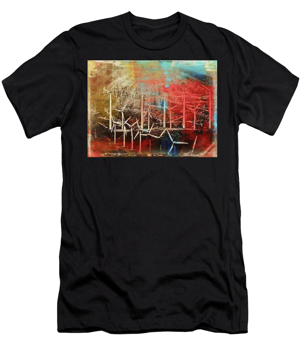 Power Turbine Men's T-Shirt (Athletic Fit) featuring the mixed media Palm Springs California Windmill by Dimaria Cynthia