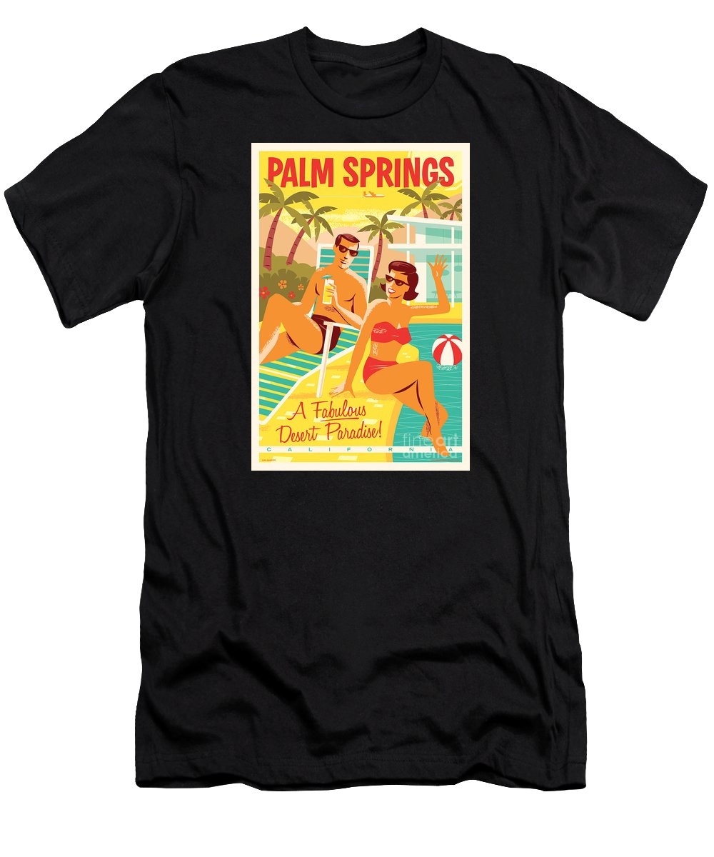 Pop Art Men's T-Shirt (Athletic Fit) featuring the digital art Palm Springs Poster - Retro Travel by Jim Zahniser