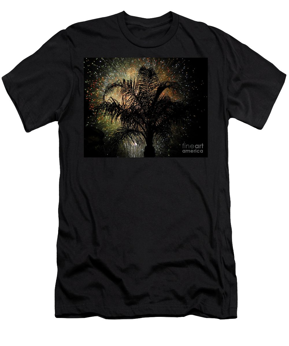 Fireworks Men's T-Shirt (Athletic Fit) featuring the photograph Palm Tree Fireworks by David Lee Thompson