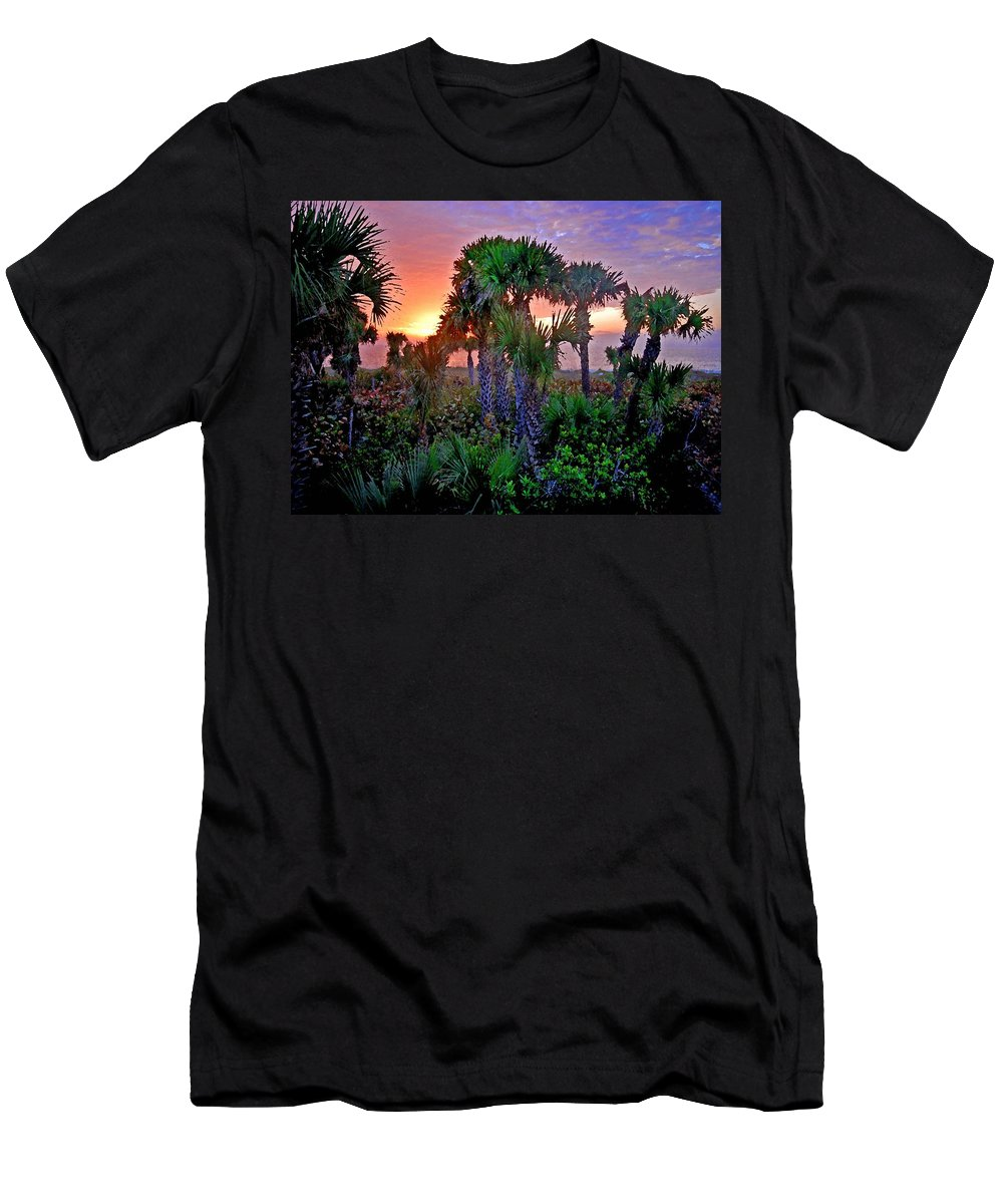 Palm Trees Men's T-Shirt (Athletic Fit) featuring the painting Palm Tree Sunset by Michael Thomas