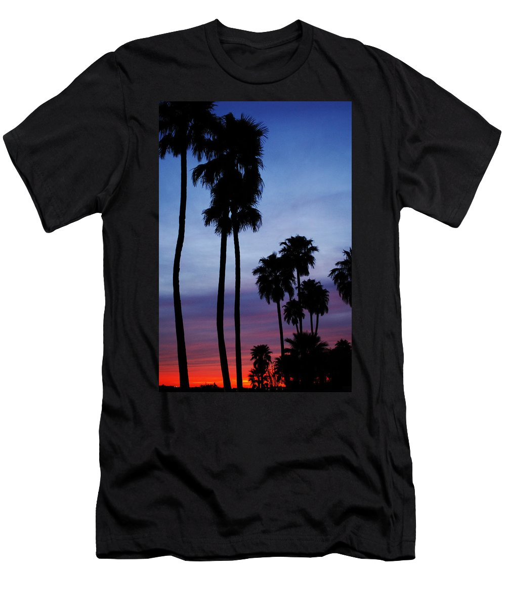 Palm Trees Men's T-Shirt (Athletic Fit) featuring the photograph Palm Trees At Sunset by Jill Reger