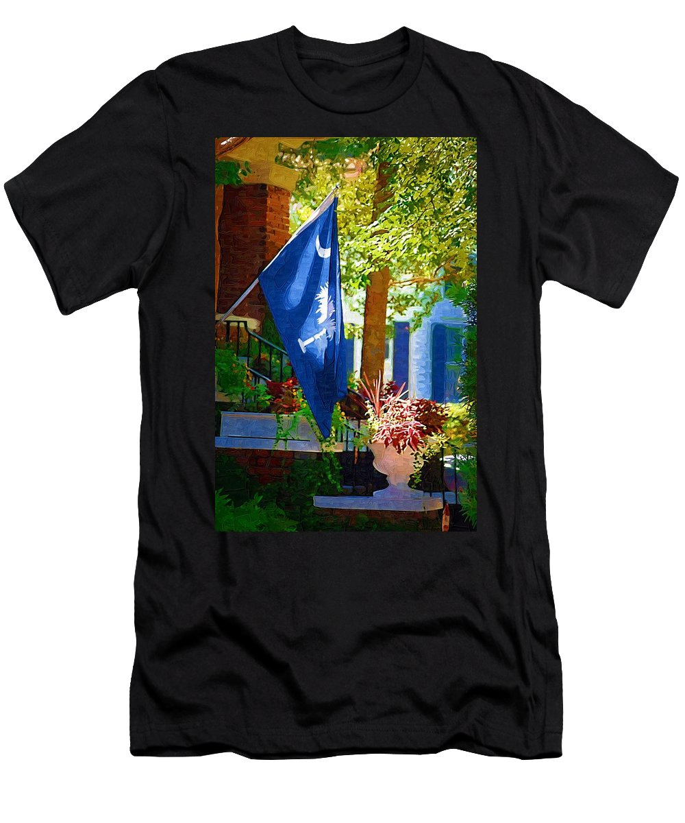 Palmetto Flag Men's T-Shirt (Athletic Fit) featuring the photograph Palmetto Flag by Donna Bentley