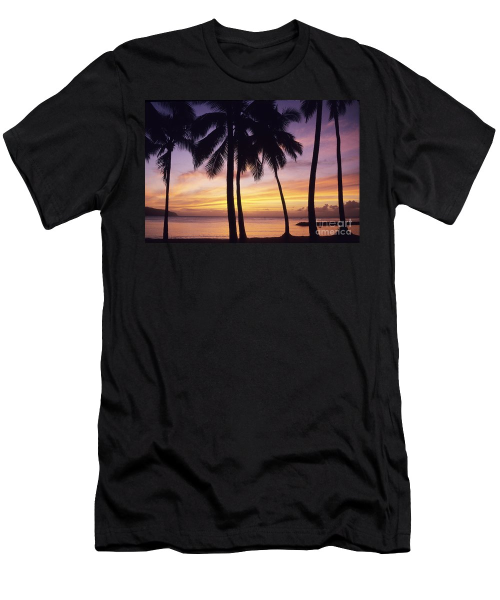 Beach Men's T-Shirt (Athletic Fit) featuring the photograph Palms And Sunset Sky by Carl Shaneff - Printscapes