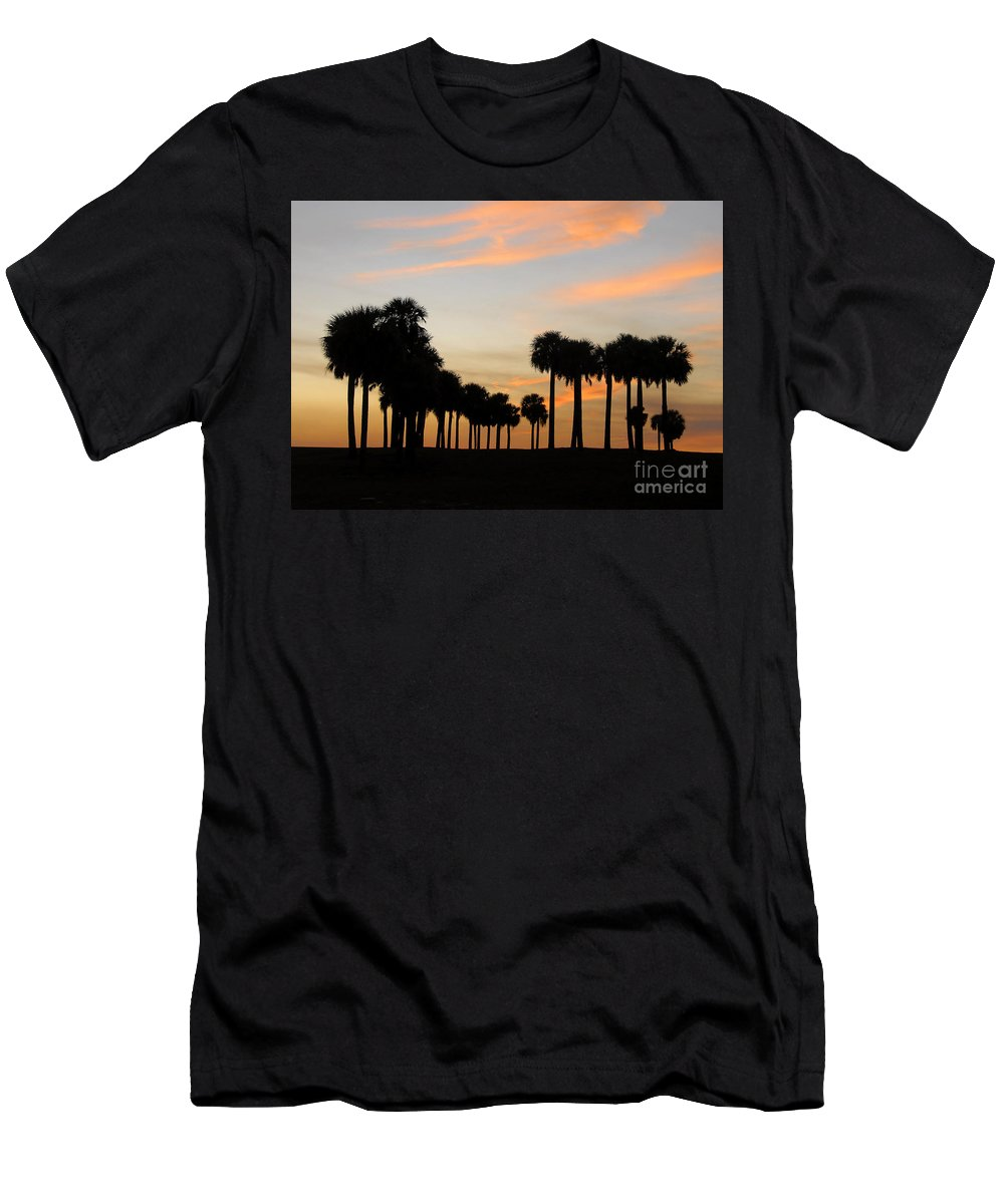Palm Trees Men's T-Shirt (Athletic Fit) featuring the photograph Palms At Sunset by David Lee Thompson