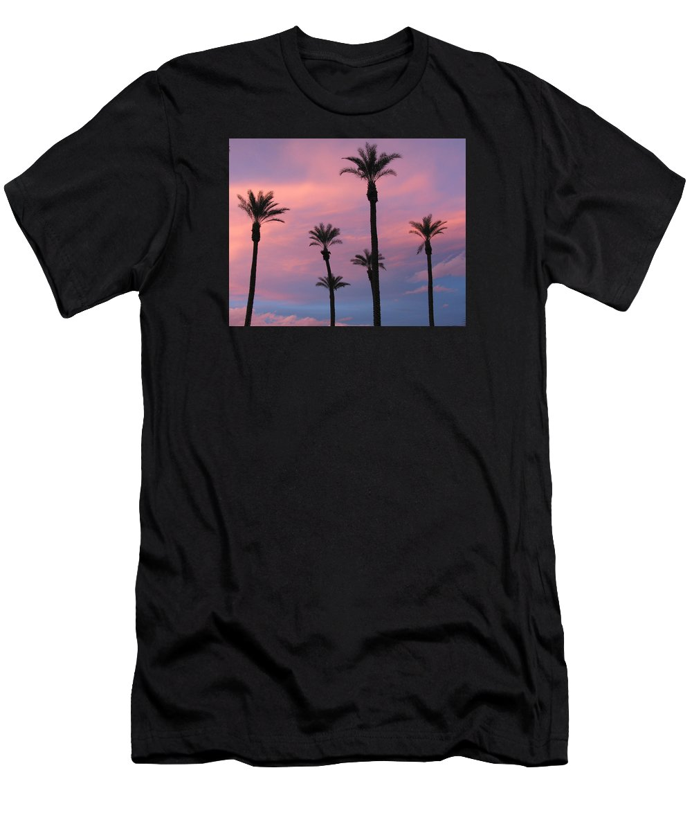 6 Palm Trees Men's T-Shirt (Athletic Fit) featuring the photograph Palms At Sunset by Phyllis Kaltenbach