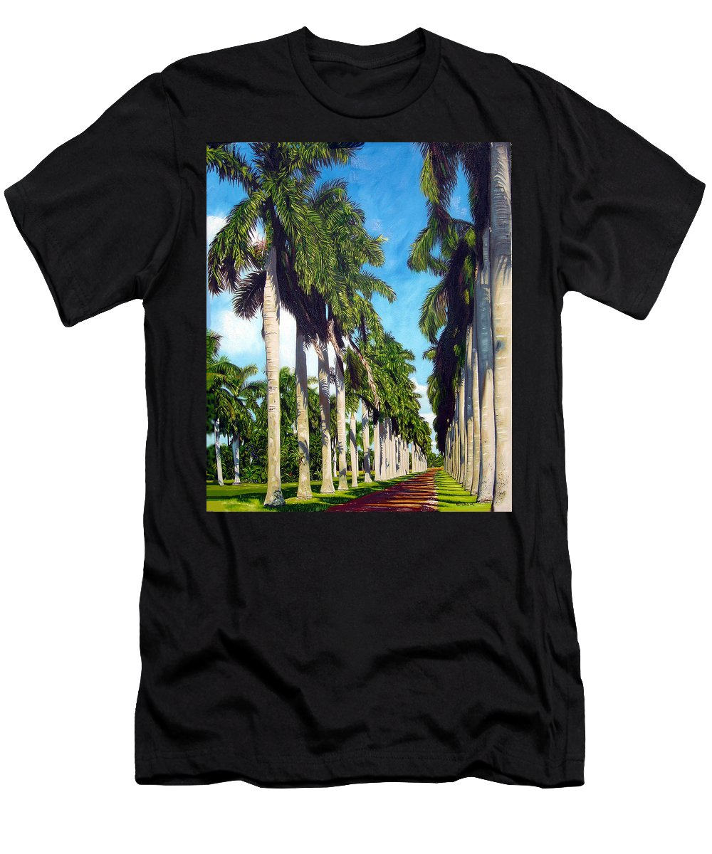 Palms Men's T-Shirt (Athletic Fit) featuring the painting Palms by Jose Manuel Abraham