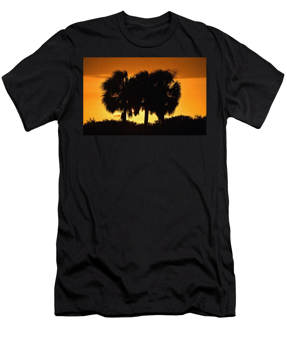 Palm Trees Men's T-Shirt (Athletic Fit) featuring the photograph Palmset by David Lee Thompson