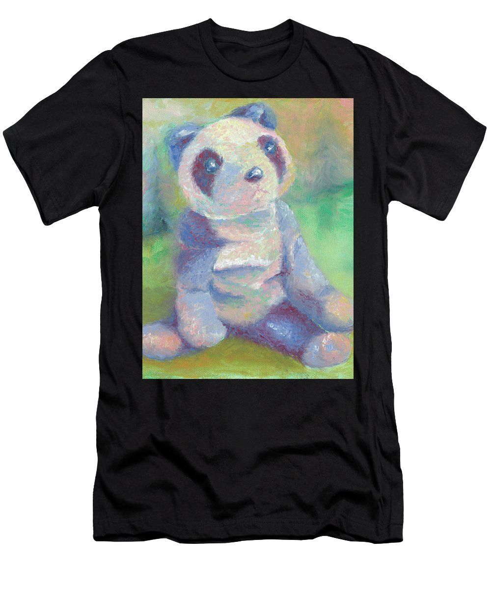 Panda Men's T-Shirt (Athletic Fit) featuring the painting Panda 2 by Elise Aleman