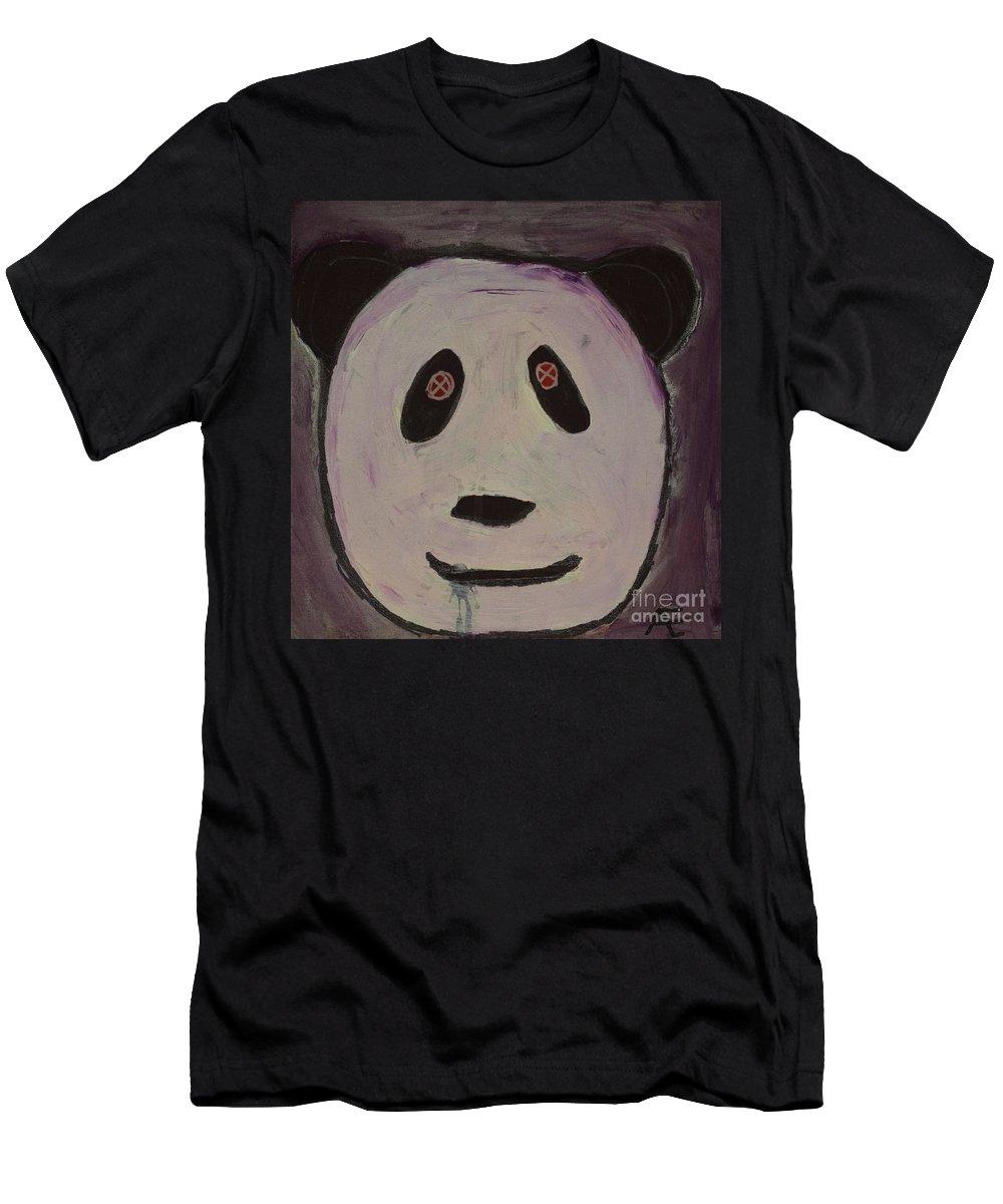 #panda #art #fineart Men's T-Shirt (Athletic Fit) featuring the painting Panda by Aj Watson