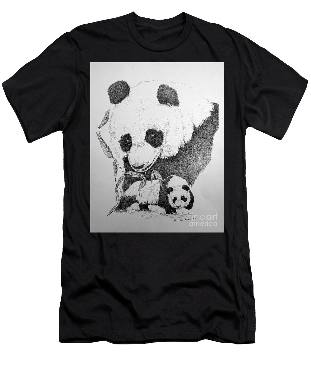 Panda Men's T-Shirt (Athletic Fit) featuring the drawing Panda Collage by Lucien Van Oosten