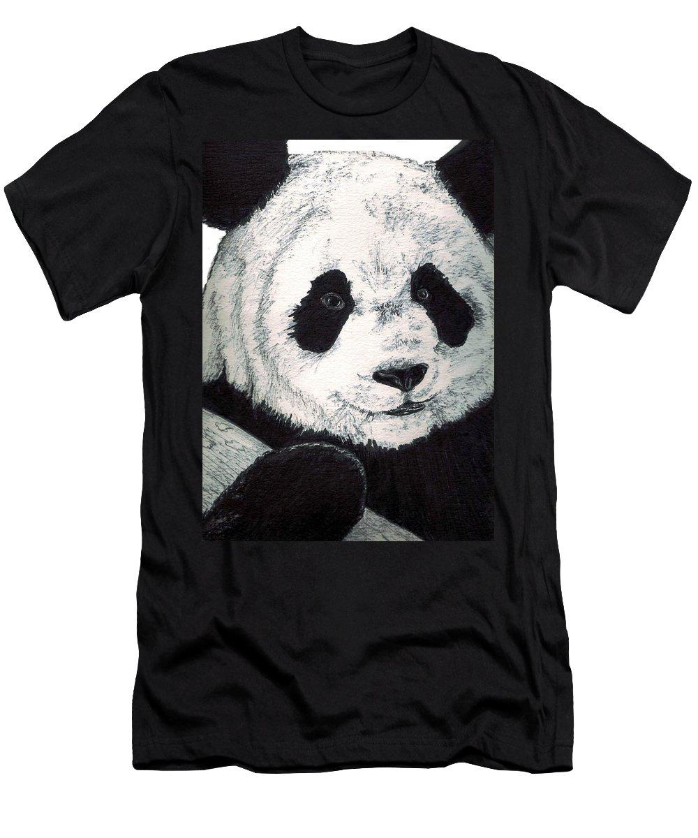 Panda Men's T-Shirt (Athletic Fit) featuring the painting Panda by Debra Sandstrom
