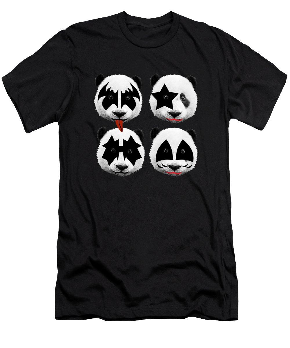 Gene Simmons Men's T-Shirt (Athletic Fit) featuring the digital art Panda Kiss by Mark Ashkenazi