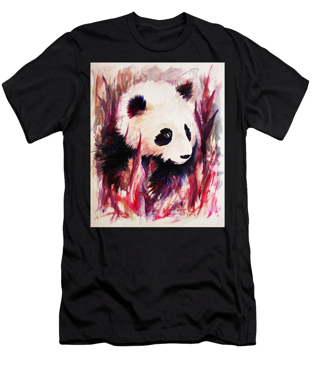Panda Men's T-Shirt (Athletic Fit) featuring the painting Panda by Rachel Christine Nowicki