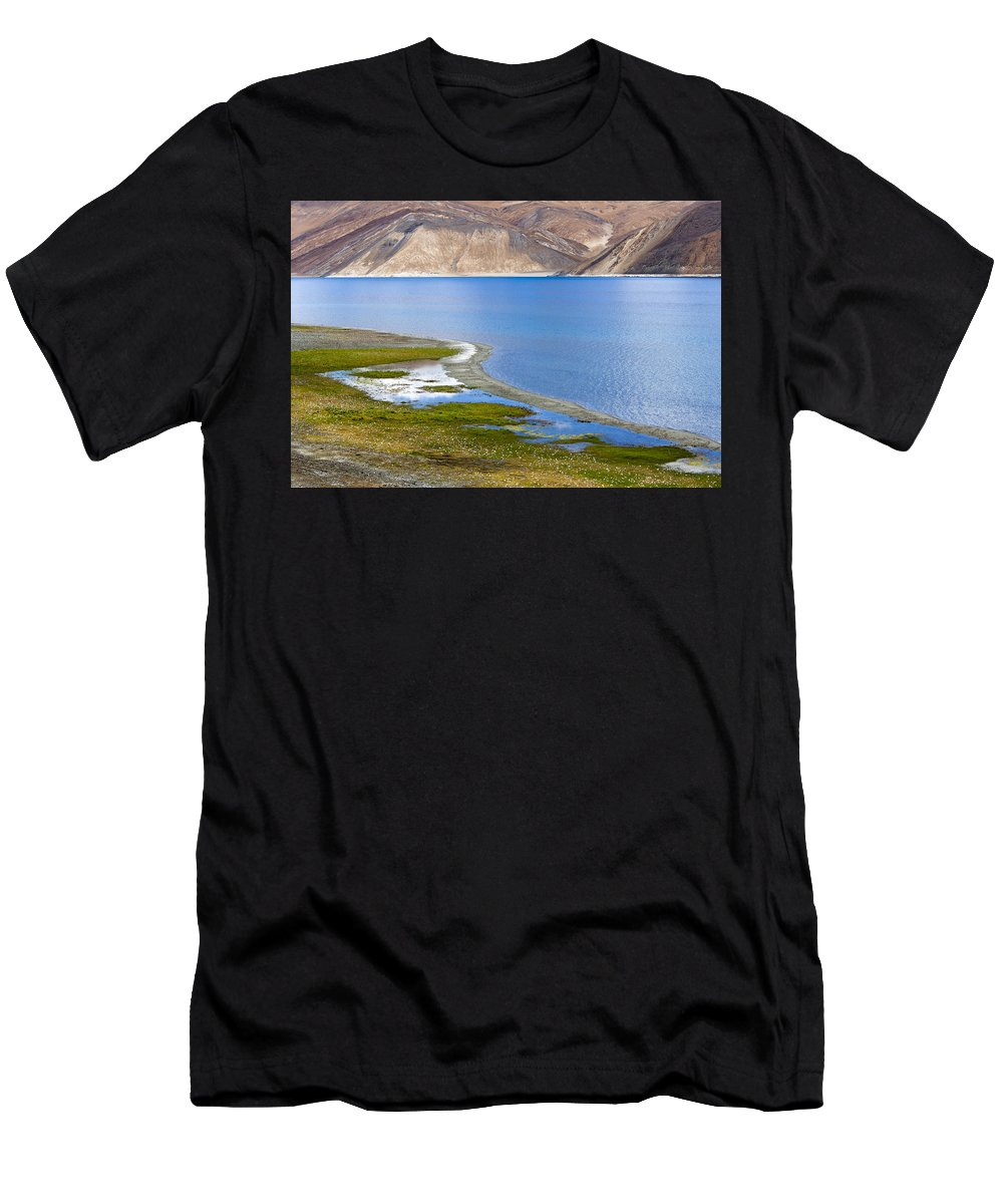 Pangong Men's T-Shirt (Athletic Fit) featuring the photograph Pangong Tso, Ladakh, 2005 by Hitendra SINKAR