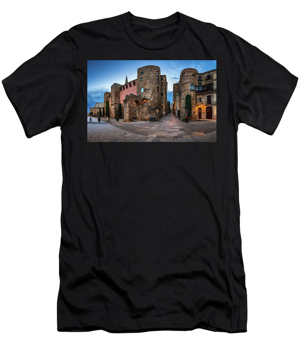 Ancient Men's T-Shirt (Athletic Fit) featuring the photograph Panorama Of Ancient Roman Gate And Placa Nova In The Morning, Ba by Andrey Omelyanchuk