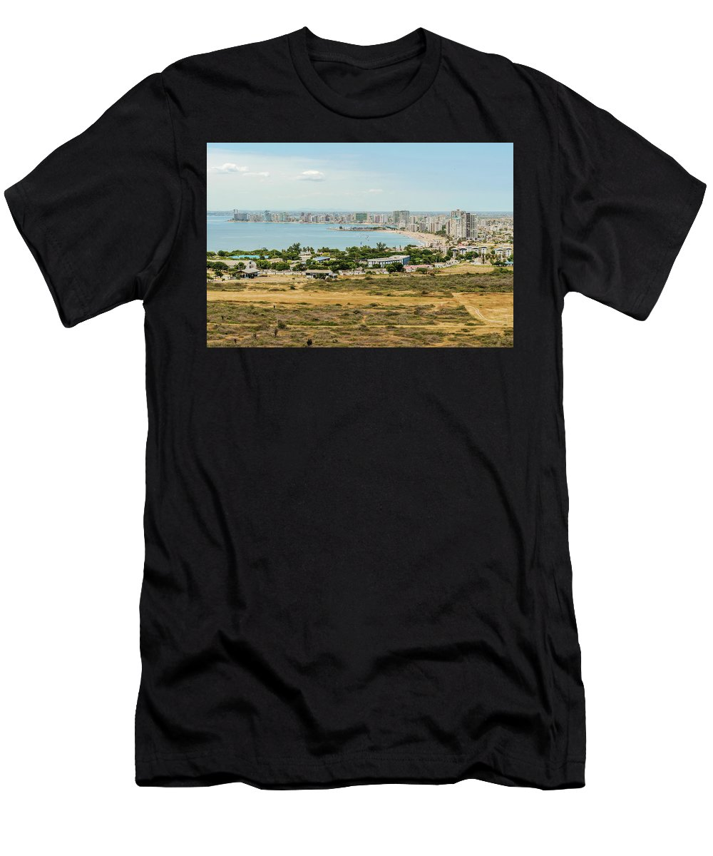 Beaches Men's T-Shirt (Athletic Fit) featuring the photograph Panoramic View At The Salinas Beaches In Ecuador by Marek Poplawski