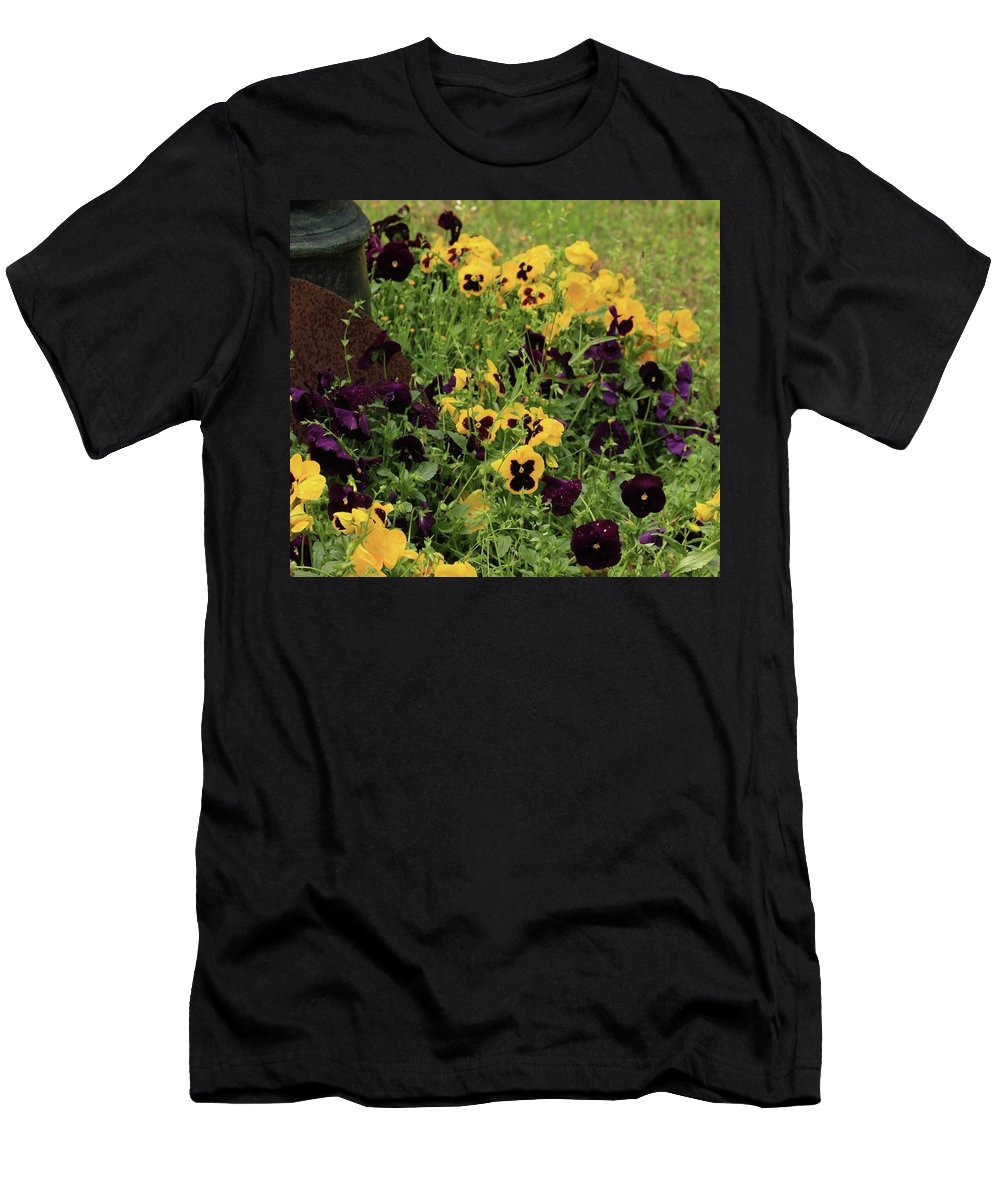 Pansies Men's T-Shirt (Athletic Fit) featuring the photograph Pansies by Kim Henderson