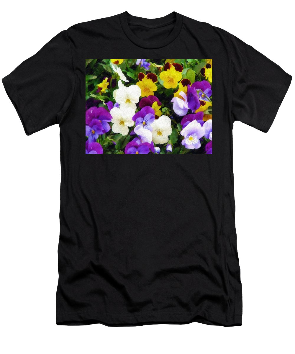 Pansies Men's T-Shirt (Athletic Fit) featuring the photograph Pansies by Sandy MacGowan