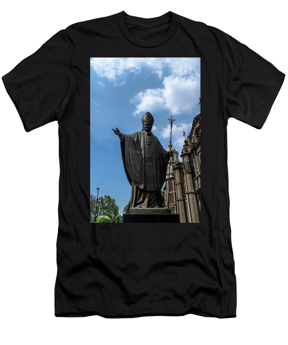 Basilica De Guadalupe Men's T-Shirt (Athletic Fit) featuring the photograph Papa Juan Pablo II - Mexico City I by Totto Ponce