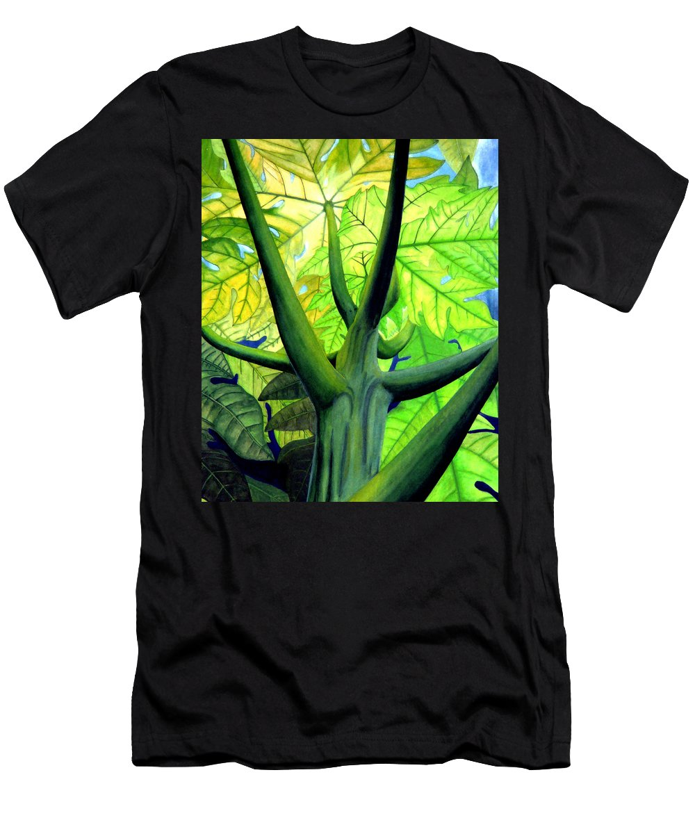 Papaya Tree Men's T-Shirt (Athletic Fit) featuring the painting Papaya Tree by Kevin Smith