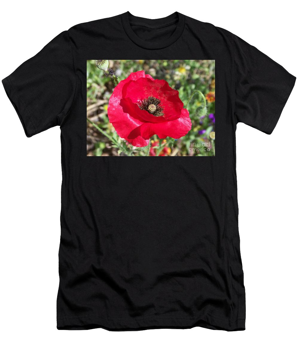 Red Men's T-Shirt (Athletic Fit) featuring the photograph Paper Flower by Kathy McClure