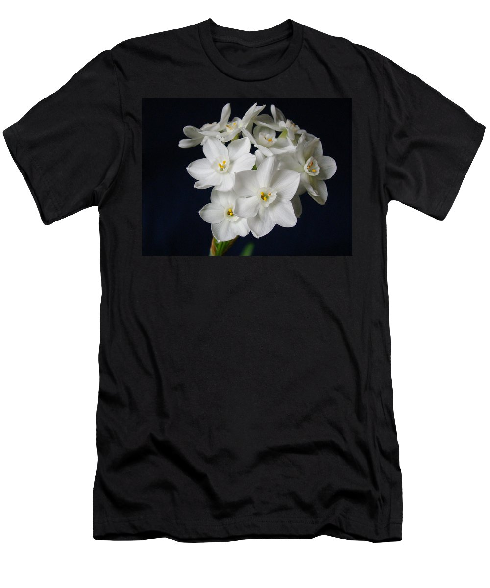 Paperwhite Flowers Men's T-Shirt (Athletic Fit) featuring the photograph Paperwhites by Sandy Keeton