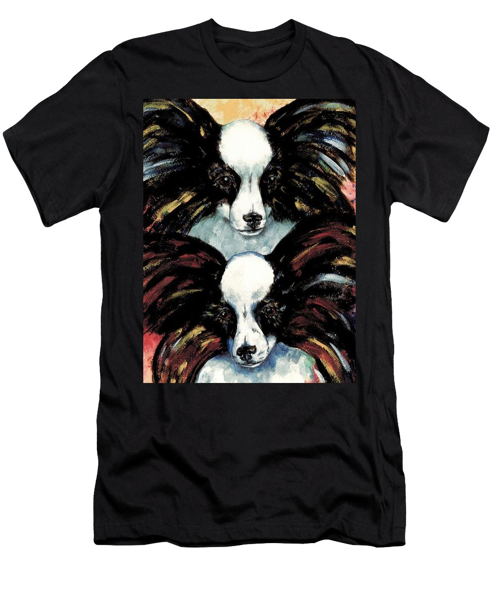 Papillon T-Shirt featuring the painting Papillon De Mardi Gras by Kathleen Sepulveda