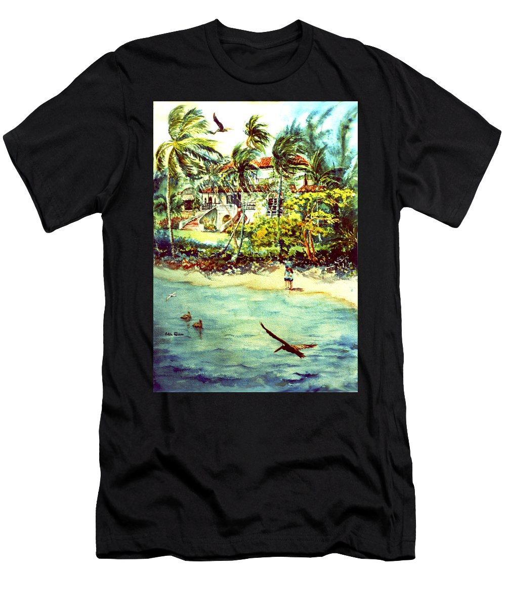 Watercolor Paintings Men's T-Shirt (Athletic Fit) featuring the painting Paradise At Dorado Puerto Rico by Estela Robles