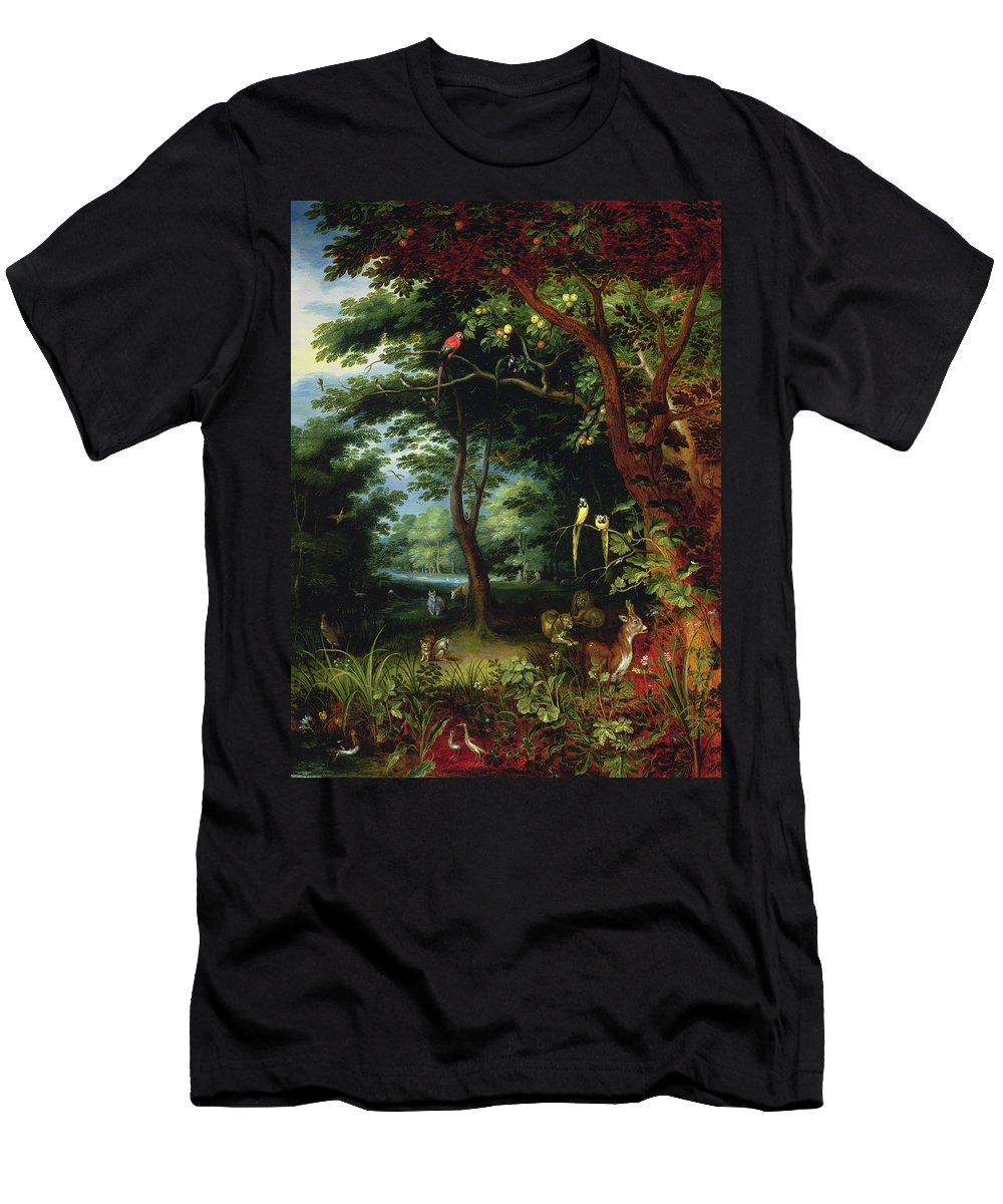 Paradise Men's T-Shirt (Athletic Fit) featuring the painting Paradise Scene With Adam And Eve by Jan the Younger Brueghel