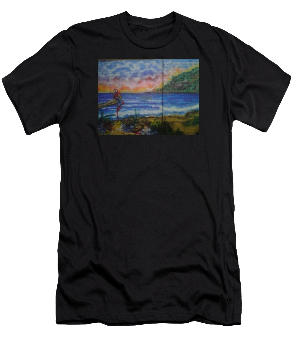 Ocean Men's T-Shirt (Athletic Fit) featuring the painting Paradise by Sylvester Wofford