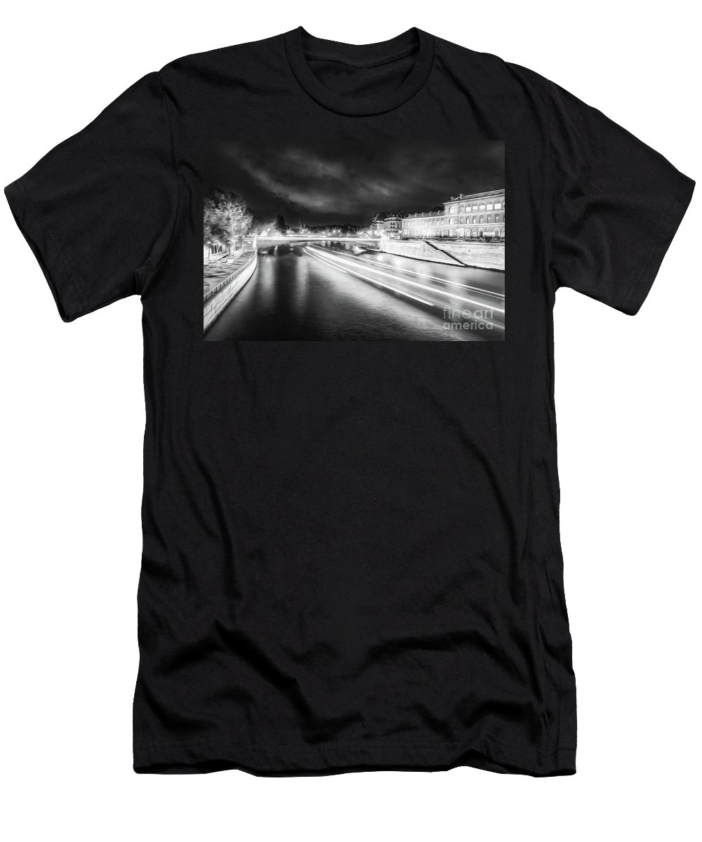 Paris Men's T-Shirt (Athletic Fit) featuring the photograph Paris At Night 19 Bw Art by Alex Art and Photo