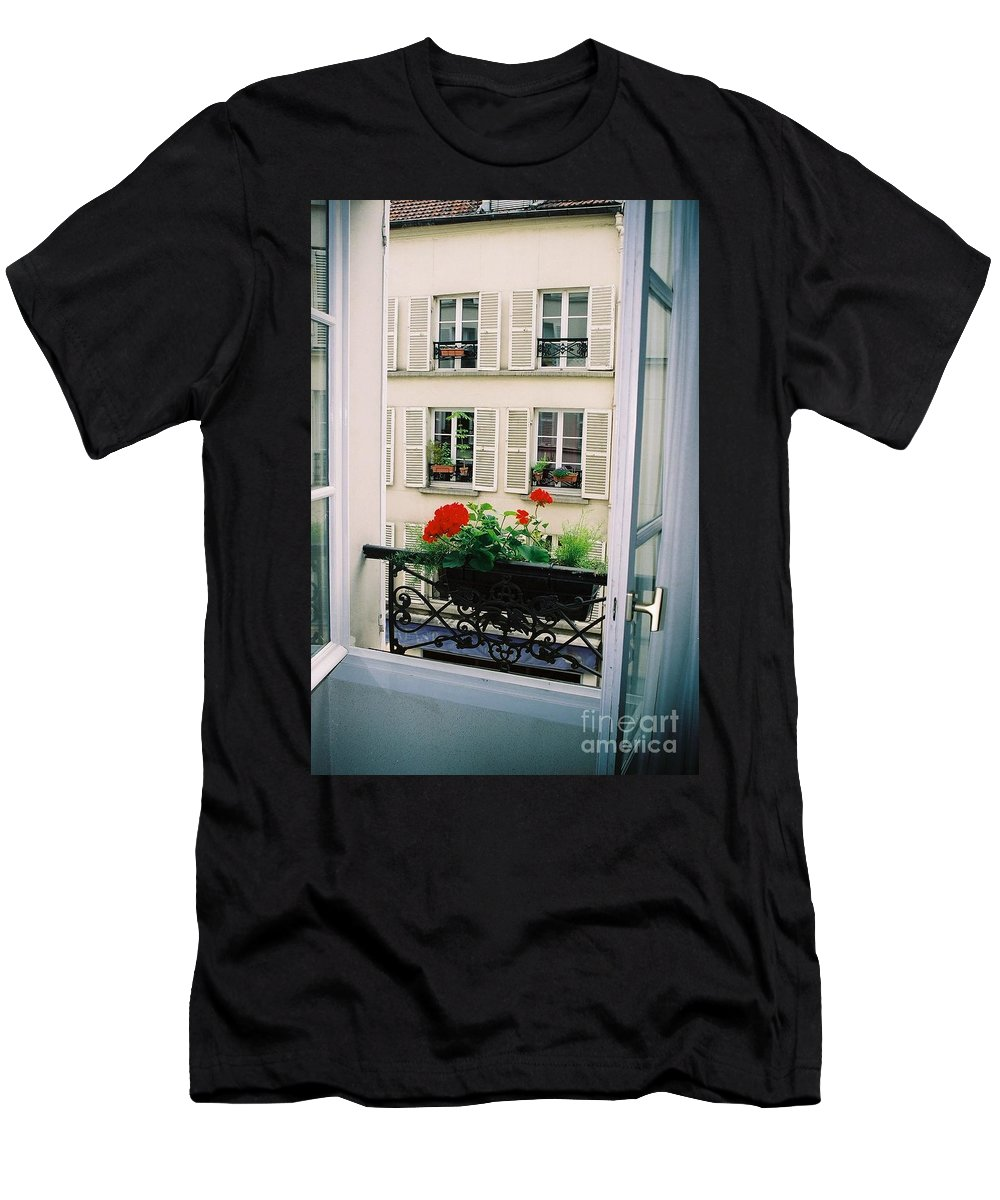 Window Men's T-Shirt (Athletic Fit) featuring the photograph Paris Day Windowbox by Nadine Rippelmeyer