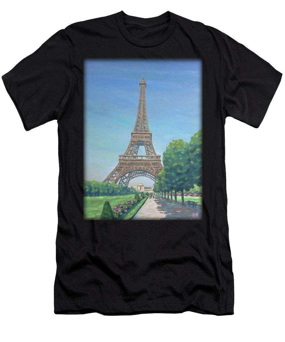 Paris Men's T-Shirt (Athletic Fit) featuring the painting Paris Eiffel Tower by Renato Maltasic