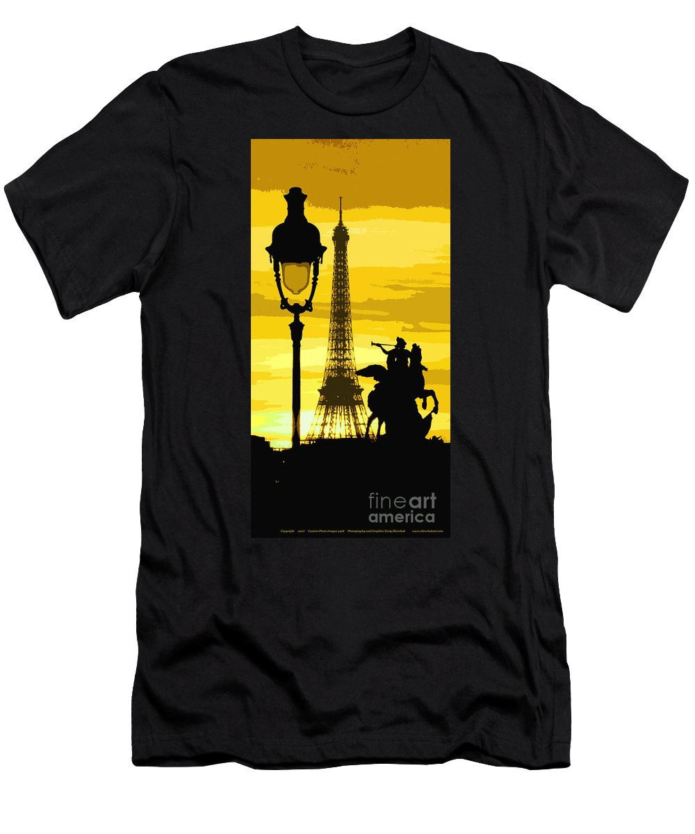 Paris Men's T-Shirt (Athletic Fit) featuring the photograph Paris Tour Eiffel Yellow by Yuriy Shevchuk