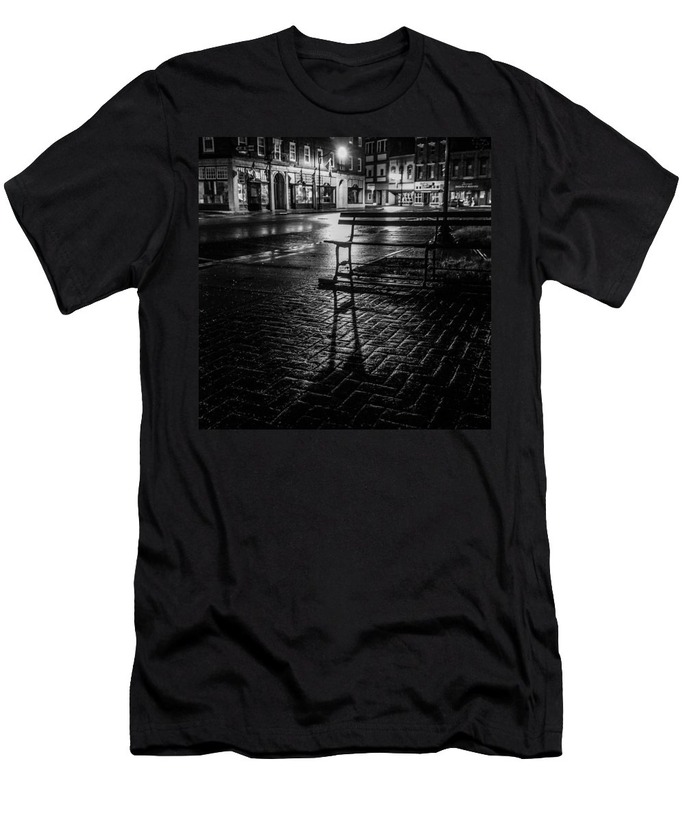 T-Shirt featuring the photograph Park bench on a rainy night by Kendall McKernon