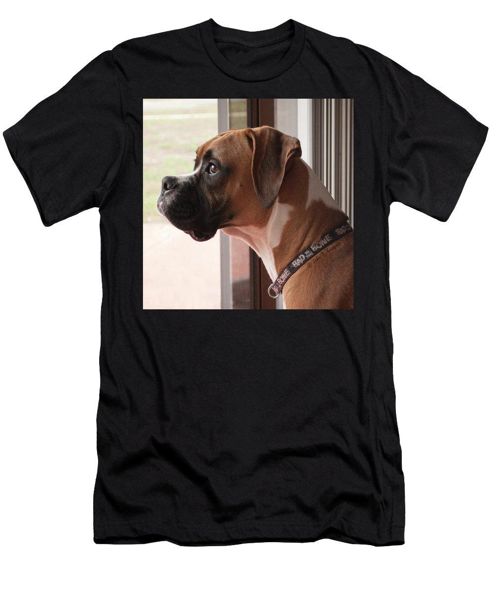 Knapko Men's T-Shirt (Athletic Fit) featuring the photograph Parker The Boxer by John Knapko