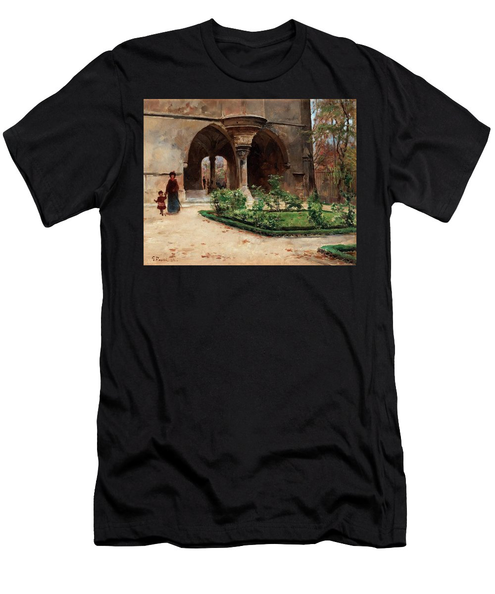 Georg Pauli Men's T-Shirt (Athletic Fit) featuring the painting Parkland In Paris by MotionAge Designs