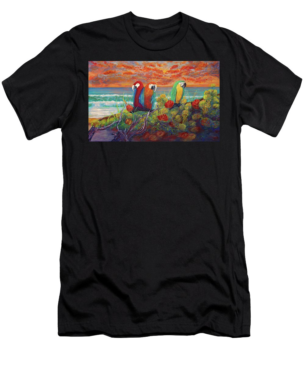 Keys Men's T-Shirt (Athletic Fit) featuring the painting Parrots On Sunset Beach by Ken Figurski
